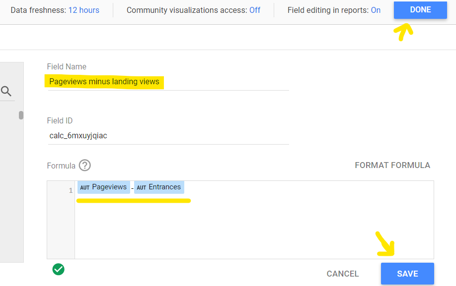 setting up pageviews minus entrances google data studio